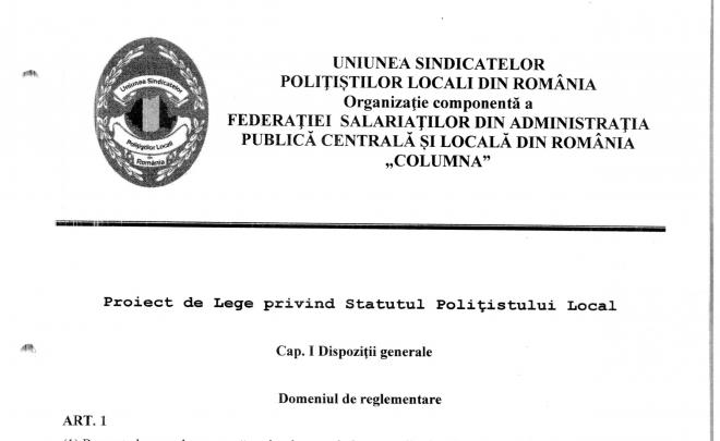 A fost înaintat proiectul Statutului Polițistului Local către MDRAPFE