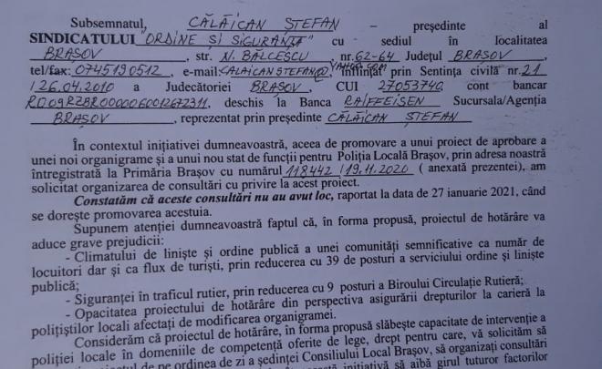 Solicitare retragere proiect hotărâre reorganizare Poliția Locală Brașov